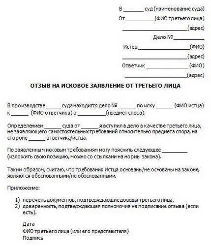 Согласно Гражданскому Процессуальному Кодексу Российской Федерации такой участник процесса как третье лицо вправе подать отзыв на исковое заявление.